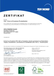 Zertifikat für die FSC® Chain-of-Custody (Produktkette)