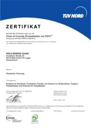 Zertifikat gemäß den Anforderungen an die Chain of Custody (Produktkette) von PEFC™